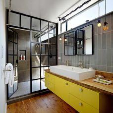 modern bathroom by Robert Nebolon Architects - Love Glass Door Industrial Design.