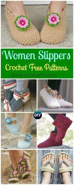 A Collection of Crochet Women Slippers Free Patterns, crochet solely with yarn or crochet with flip flop soles in different stitches. via @diyhowto