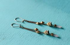 Phora Crystal Dangle Earrings Gold Brass with Rose Quartz Crystal Points by youareinfinite on Etsy