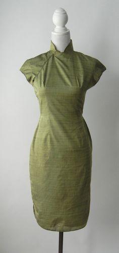 Green Silk Cheongsam Dress, Small