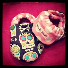 Sugar skull cloth shoes baby girl cloth shoes by rockabutt on Etsy, $29.00