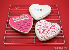 Make a sugar cookie postcard for Valentine's Day and then send it in the mail