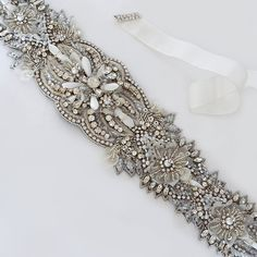 Deepa Gurnani Bridal Belts & Sashes. A stunning bridal sash of intricate beadwork, crystals, pearls & mother of pearl beads. Jewelry for your waist. can also be ordered as a bridal headband. $365 http://perfectdetails.com/WBBR030-sash-silver.htm