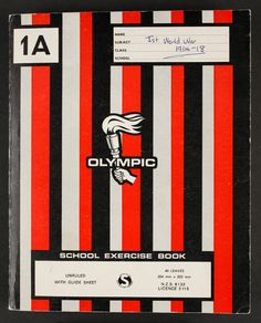 Cover of the Pepperell album, a standard Olympic school exercise book. 1980s Childhood, My Childhood Memories, Exercise Book, Kiwiana, Time Capsule, School Days, New Zealand, Growing Up, Nostalgia