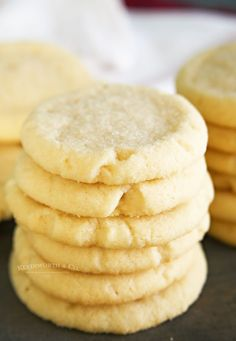 These soft and chewy 4-Ingredient Sugar Cookies are made without eggs or cake mix and don't require chilling or rolling. So simple, so good! Perfect for a quick and easy dessert! Plain Cookie Recipe, Plain Cookies, Sugar Cookie Recipe Easy, Cookie Recipes Without Butter, Holiday Cookie Recipes, Easy Cookie Recipes, Christmas Cookies, Sweet Recipes, Eggless Sugar Cookies