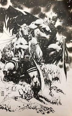 Jim Lee- Batman and Hellboy inks