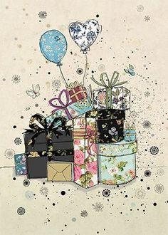 Gifts & Balloons - Bug Art greeting card