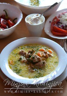 Teleća čorba Torte Recepti, Croatian Recipes, Soups And Stews, No Cook Meals, Cheeseburger Chowder, Allrecipes, Food Photography, Bakery, Curry