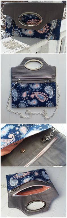 One of my favorite bag sewing patterns.  Makes a really good fold over clutch bag, with optional shoulder strap, pockets, card slots etc.  This clutch bag sewing pattern has everything!