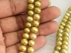 Pearls  Yellow Gold Color Pearls Natural Fresh by gemsforjewels