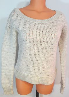 """AMERICAN EAGLE"" BEIGE WOOL COTTON ALPACA SWEATER - PLEASE SEE ALL PICTURES #AmericanEagleOutfitters #ScoopNeck"
