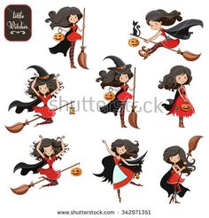 Big vector set of cute little witch with pumpkin, broom and a cat. For print on T-shirts and bags, for Halloween cards, banners and signs. Isolated on white. Element for design.