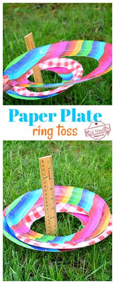 Paper Plate - DIY Ring Toss Game {Easy to Set Up} Make an easy and fun ring toss games out of simple paper plates. This is a fun summer game to play. It's a great game fo. Outdoor Games For Toddlers, Outside Games For Kids, Paper Games For Kids, Easy Games For Kids, Outdoor Activities For Kids, Kids Party Games, Diy Games, Diy For Kids, Outdoor Games To Play