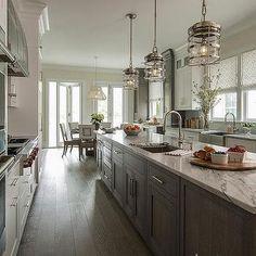Long Narrow Kitchen, Narrow Kitchen Island, Kitchen Island With Stove, Long Kitchen, Kitchen Island With Seating, Kitchen Island Lighting, New Kitchen, Kitchen White, Square Kitchen