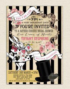 Alice in Wonderland Bridal Shower Tea Party Birthday Invitation Mad Hatter Retro Printable Digital - ANY EVENT
