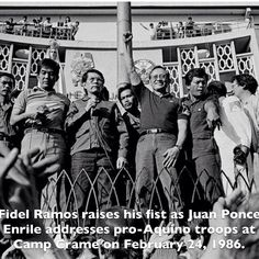28 years ago today, on February 24, 1986, coup leaders Fidel V. Ramos, then Armed Forces vice chief of staff, and Juan Ponce Enrile, then defense minister of the dictator Ferdinand Marcos, addresses pro-Aquino troops at Camp Crame. Two fighter planes defied orders to bomb the camp. Helicopter pilots who have been given orders to attack the camp decided to defect. 1986 #Philippine People Power #Revolution People Power Revolution, Philippine Army, President Of The Philippines, Philippines Culture, Helicopter Pilots, Power To The People, Chief Of Staff, Philippines, Historia