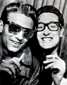 Buddy Holly and Waylon Jennings have fun in a photobooth