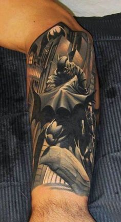 Batman Tattoos are very popular nowadays thanks to Nolan and Bale! The Dark Knight version of Batman has seen a huge explosion of Bat-Tats in recent years! Great Tattoos, Beautiful Tattoos, Body Art Tattoos, Tattoos For Guys, Sleeve Tattoos, Batman Tattoo Sleeve, Arm Tattoo, Amazing Tattoos, Tattoo Ink