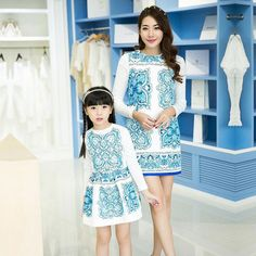 33.40$  Know more  - New chinese style Mother Daughter Matching Dresses Sets spring Family Fashion Sleeve Outfits + shirts Mom Girl Clothing Sets
