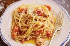 Antonio Carluccio's pasta with a chilli, bacon and tomato sauce