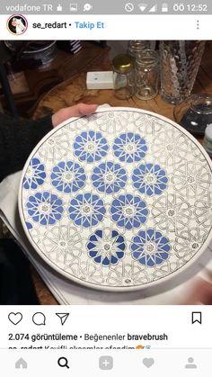 Turkish Art, Ceramic Design, Islamic Art, Decoupage, Hand Painted, Plates, Watercolor, Patterns, Drawings