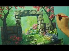 Acrylic Landscape Painting Tutorial - Gateway to Flower Garden by JM Lisondra - YouTube
