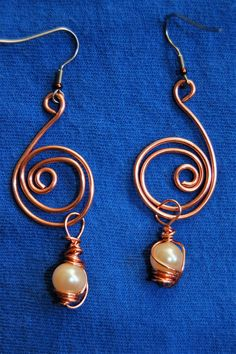 Copper wire wrapped Glass Pearl Earrings