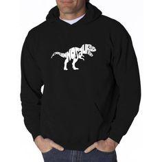 Los Angeles Pop Art Men's Hooded Sweatshirt - Tyrannosaurus Rex, Size: 3XL, Black
