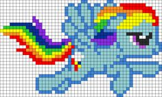 Rainbow Dash Flying Perler Bead Pattern / Bead Sprite