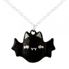 Kawaii Bat Necklace  by Oborocharms    $14.00      Wicked cute!!!!    You'll love wearing this super-adorable necklace featuring a hand-painted black vampire bat! He's got the cutest little mouth, rosey cheeks, and evil eyes.You can definitely tell he was hand-made with love!