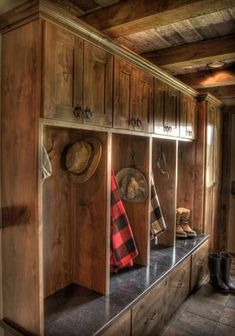 Land's End Development. Hall entry, storage areas, possible mud room. Cabin Homes, Log Homes, Gun Rooms, Rustic Home Design, Rustic Style, Cabin Interiors, Mudroom, My Dream Home, Home Remodeling