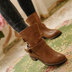 Womens Flat Ankle Boots High Top Shoes Buckets PU Black/Brown Martin Boots