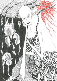 Woman, graphics, sun, Flowers Black And White Drawing, My Black, Sun Flowers, Graphics, Woman, Drawings, Art, Art Background, Graphic Design