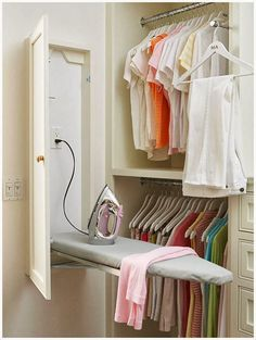 Built-In Ironing Board cabinet in laundry room or master closet Laundry Room Storage, Laundry Room Design, Bedroom Storage, Furniture Storage, Laundry Rooms, Laundry Closet, Kitchen Storage, Utility Closet, Laundry Sorter