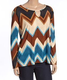 Look at this #zulilyfind! Brown & Blue Chevron Keyhole Top - Plus #zulilyfinds