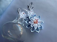 Hair Clip - Baby Blue Light Blue White Silver Kanzashi Flowers Hair Accessories Wedding Flowers