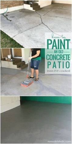 How To Paint A Concrete Patio Even If It s Old And Cracked Your old cracked concrete slab can look like NEW again Learn how to paint a concrete patio from prepping and filling cracks to painting with epoxy floor paint Diy Concrete Patio, Concrete Patio Designs, Diy Patio, Patio Ideas, Stained Concrete Porch, Colored Concrete Patio, Concrete Front Porch, Concrete Pathway, Pavers Patio