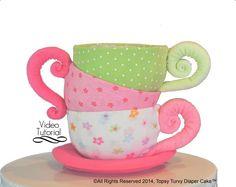 Etsy, diaper-cake-teacups-baby-beanie-teacups
