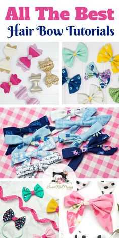hair bows I've rounded up all of my favorite hair bow tutorial posts to share with you today! My girls love wearing bows so I'm always on the hunt for a good bow pattern. Sewing Projects For Beginners, Sewing Tutorials, Sewing Hacks, Sewing Tips, Hair Tutorials, Beauty Tutorials, Sewing Ideas, Sewing Patterns Free, Free Sewing