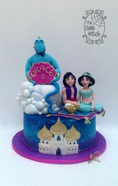 Aladdin - Cake by Nessie - The Cake Witch Jasmine Birthday Cake, Jasmine Cake, Aladdin Birthday Party, Birthday Parties, Aladdin Cake, Character Cupcakes, Disney Cakes, Fondant, Cute Cakes