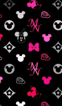Pink and Black Mickey Mouse Wallpaper