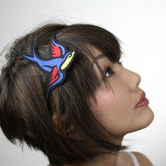 Retro Sparrow Headband Tattoo Style Blue Yellow and by JanineBasil, £15.00