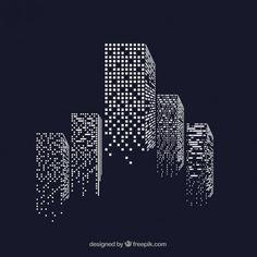 Vector Building Skyscrapers with illuminated windows - # . Business Icons, Illustration Design Plat, Wall Design, Logo Design, Design Tech, Building Silhouette, Motifs Textiles, Real Estate Logo, Grafik Design