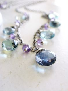 Fluorite Necklace Briolette Necklace Wire Wrapped door beachjewels72