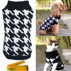 Pet Sweater Knitwear for Dogs and Cats Elegant Warm Knitted Turtleneck Houndstooth -- Read more reviews of the product by visiting the link on the image. (This is an affiliate link and I receive a commission for the sales)