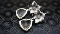 Earrings Silver Flower and Crystal Bridal dangle by VerdigrisGifts, $24.00