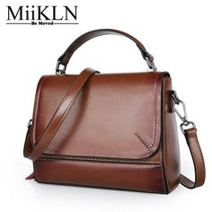7d4424a08c08 MiiKLN Solid Red Black Green Split Cow Leather Women Flap Small Bags New Design  Ladies Handbag