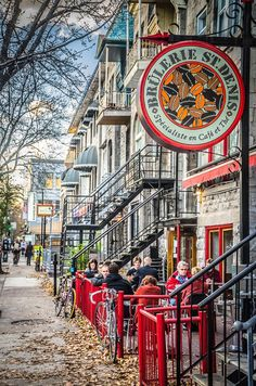 The Saint-Denis street is full of nice little stores, coffee shops and restaurants - Montreal, PQ, Canada Quebec Montreal, Montreal Ville, Quebec City, Ottawa, Oh The Places You'll Go, Places To Travel, Places To Visit, O Canada, Canada Travel