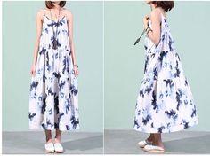 Loose Fitting Long Linen Maxi Dress - Summer Dress in blue print -Sundress for Women Cotton Dress women Cotton Dress casual dress PInk