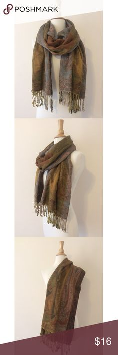 Fall Neutrals Brown & Grey Tapestry Fringe Scarf Printed fringed scarf in an array of earth tones: brown, grey, black, yellow, and green. Great condition! Accessories Scarves & Wraps